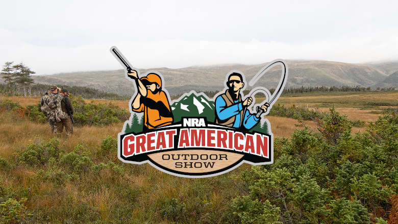 NRA Great American Outdoor Show logo on image of hunters in a field